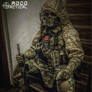 ROCOTACTICAL Military Sniper Ghillie Viper Hood Combat Ghillie Suit Foundation Custom Ghillie Hood Jacket Camouflage Woodland - DISCOUNT ITEM  15% OFF All Category