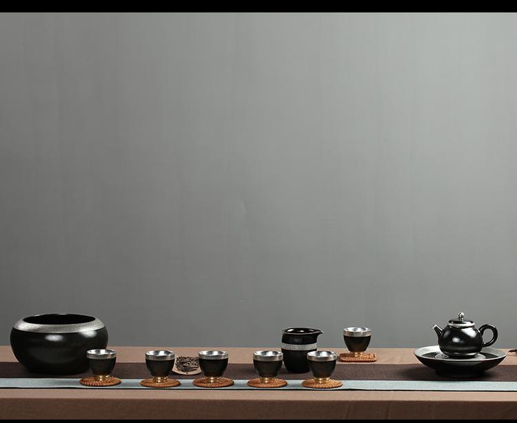 zen style silver tea cup