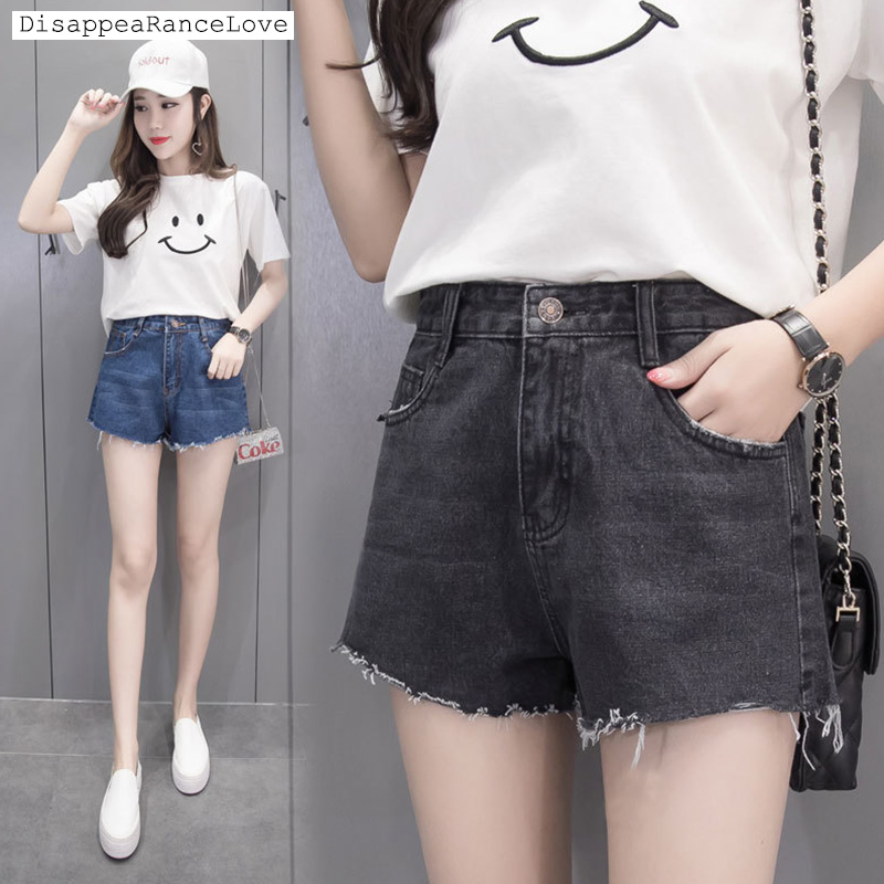 2017 high waist denim shorts a female loose pants moben single-shorts show thin wide-legged student cool high street pants