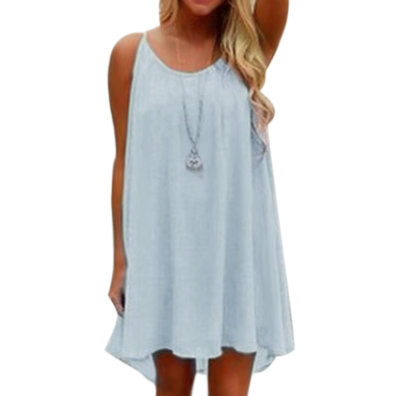 Newly Sexy Women Dress Summer Chiffon Dress Strap Casual Loose Sleeveless Solid Beach Dresses Plus Size 5XL 2019 DO99