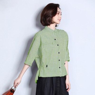 Blouse Lady Plaid Vêtements D'été blue green Ayunsue Office red Plus Travail De Mf012 La Black Chemises Moitié 2018 Manches Mode Taille xX05wxYq