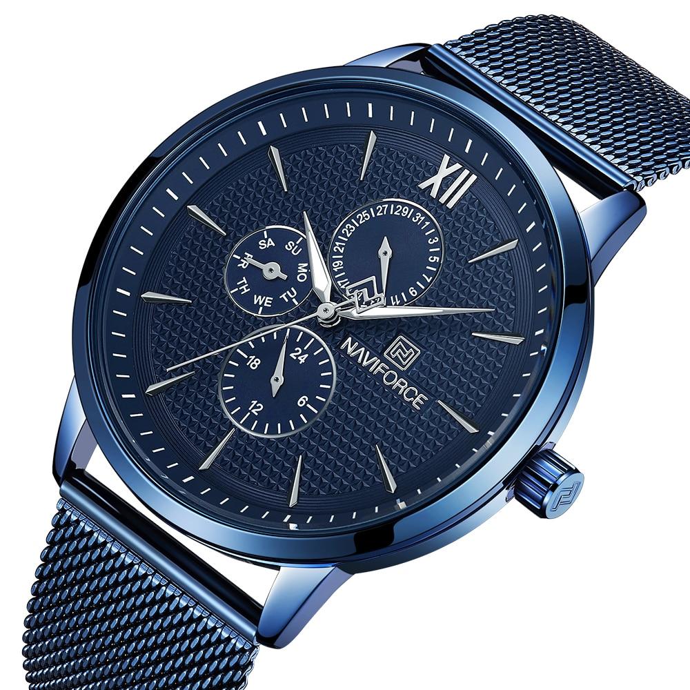 New Luxury NAVIFORCE Brand Mens Casual Watches 24Hour Luminous Hands Fashion Mesh Band Sport Quartz Watch Men Relogio Masculino