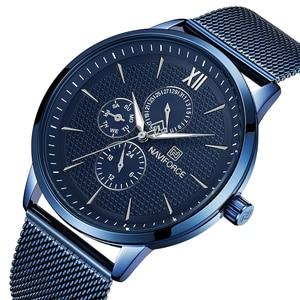 Image 1 - New Luxury NAVIFORCE Brand Mens Casual Watches 24Hour Luminous Hands Fashion Mesh Band Sport Quartz Watch Men Relogio Masculino