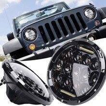 "2 Unids 75 W 12-24 V Camión-Lite 7 ""ronda Faros LED Para Jeep Wrangler TJ CJ JK 2007-2016 Impermeable A Prueba de Polvo de color Blanco"