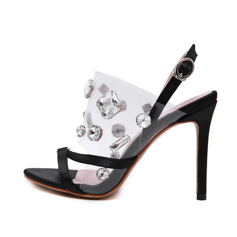 strap sandals Fashion Transparent shoes PVC Crystal Sandals Open Toed High Heels rhinestone Sandals women Party Shoes YMA833 in High Heels from Shoes