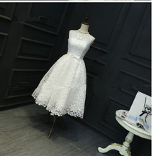 In Stock White Plus Size  Dresses Sleeveless Lace Ball Gown and Ivory Bridesmaid Short Tea-Length Dress 0413