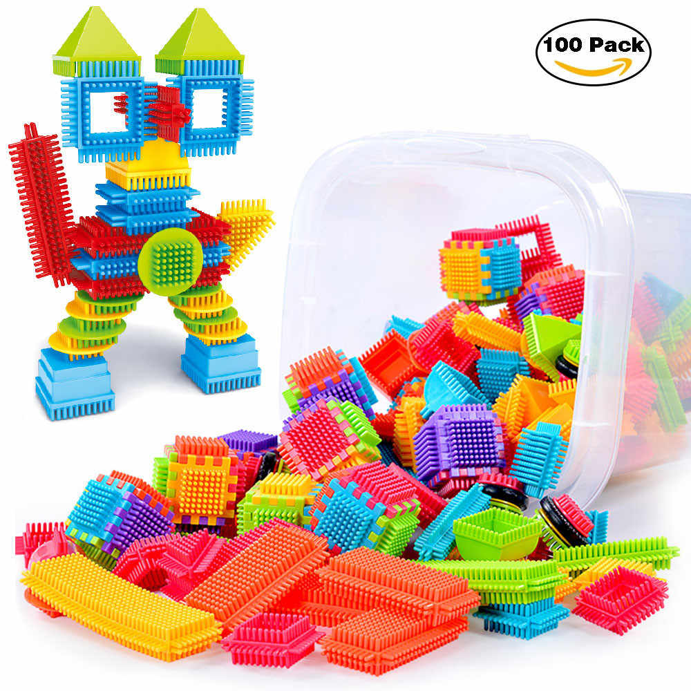 DIY Imagination 100pcs Bristle Shape 3D Building Blocks Tiles Construction Playboards Toys Toddlers Kids  Do-It-Yourself t211