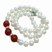 Вечная Свадебная Для женщин подарок Слово стерлингового серебра 925 Настоящее 7 8 мм круглый природный жемчуг камень ожерелье, аутентичные от