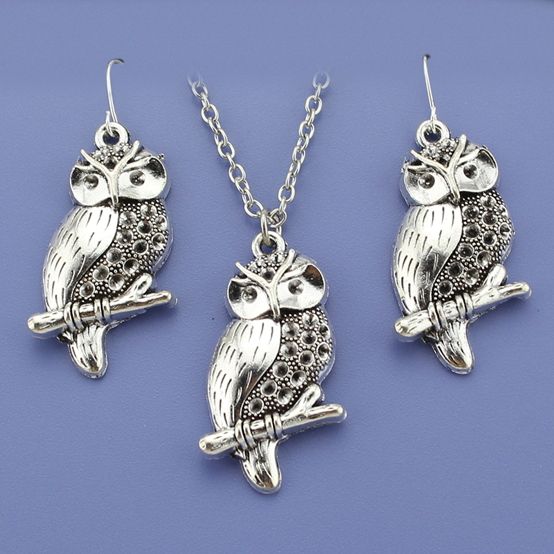 Fashion vintage silver tone owl pendant women jewelry set for Vintage costume jewelry websites