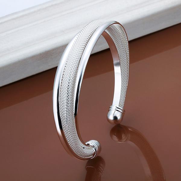 Luxfacigoo Female Cuff Bangles Jewelry Silver Charm Wire Net Opening Adjustable Bracelet For Women Gift @17 TT@88