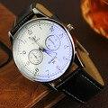 Lujo original yazole brand cuero genuino vestido reloj de pulsera reloj de cuarzo para hombres mujeres negro blanco n° 311 op001