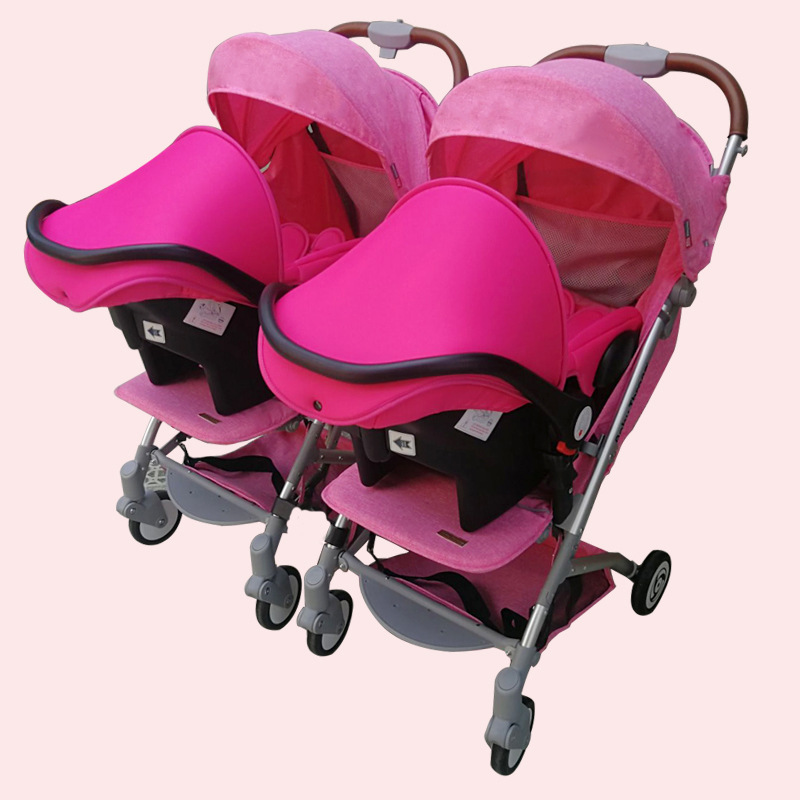 Twin baby stroller baby basket type light folding sitting lying double child stroller dragon and baby