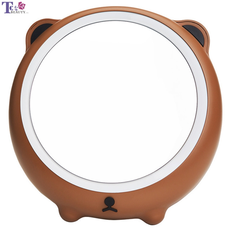 Beauty & Health Led Light Makeup Mirror Mini Portable Small Hand Mirrors Desktop Lamp Vanity Usb Cute Bear Shape Cosmetic Tools Folding High Safety