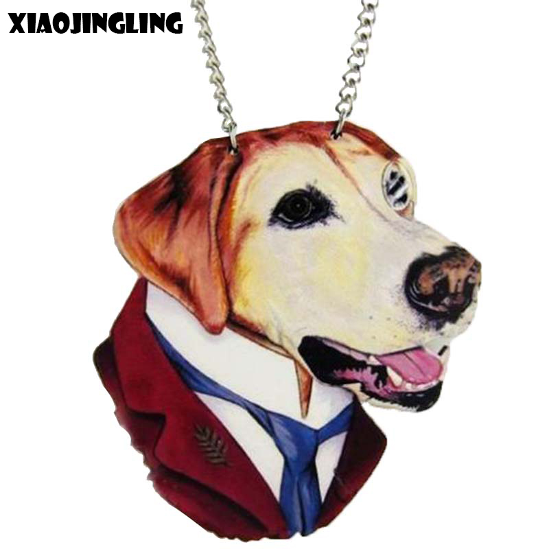 XIAOJINGLING New Fashion Charm Dog Necklaces & Pendants Natural Wood Long Sweater Chain Necklaces Jewelry Accessories For Men