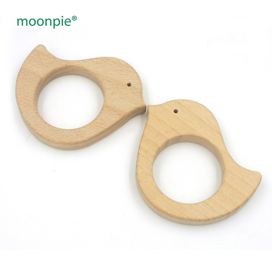 Sale SET OF 70*60mm 20pcs  Wooden Teether Bird beech Teether/Toy- All Natural- Wood Toy- Free Teether Clip EA60-1