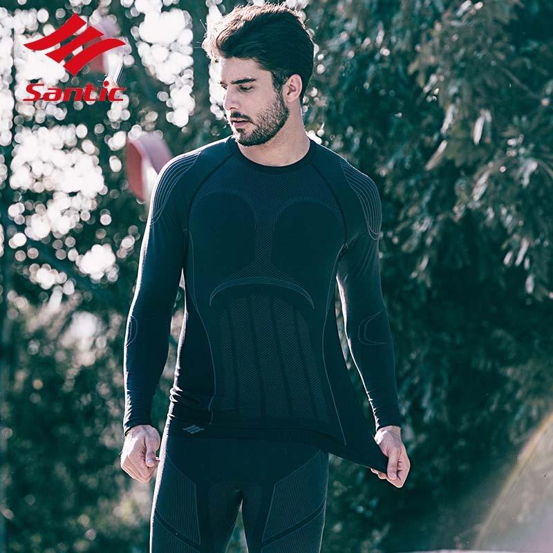 Santic hommes automne hiver course Fitness polaire thermique cyclisme costume ensemble chaud cyclisme Jersey + pantalon de cyclisme