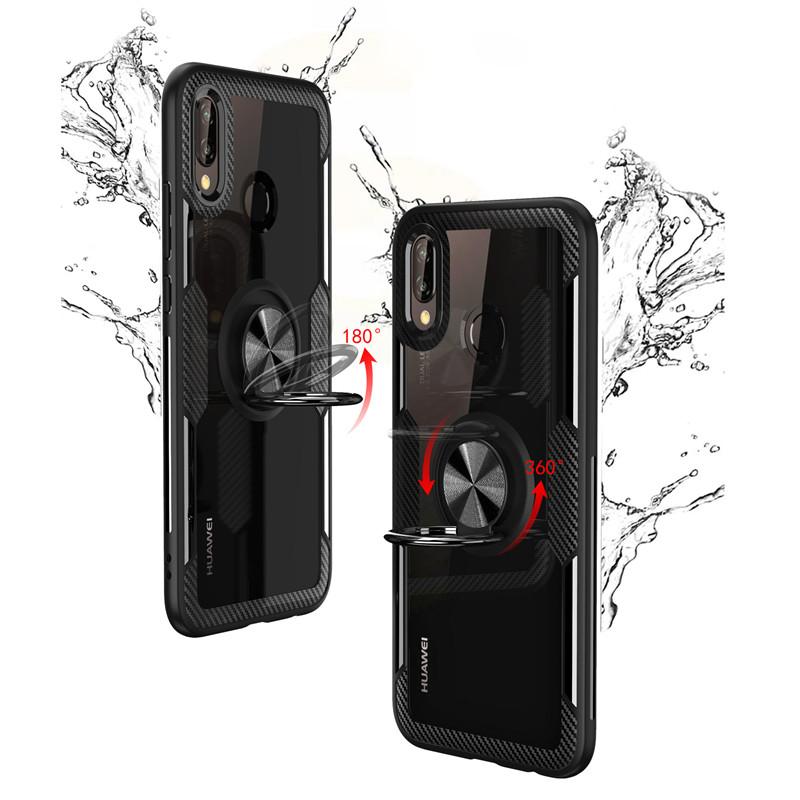 Car Holder Metal Ring Case On The For Huawei Mate 10 Pro P20 Shockproof Case For Huawei P20 Pro Mate 20 Soft Bumper Case in Fitted Cases from Cellphones Telecommunications