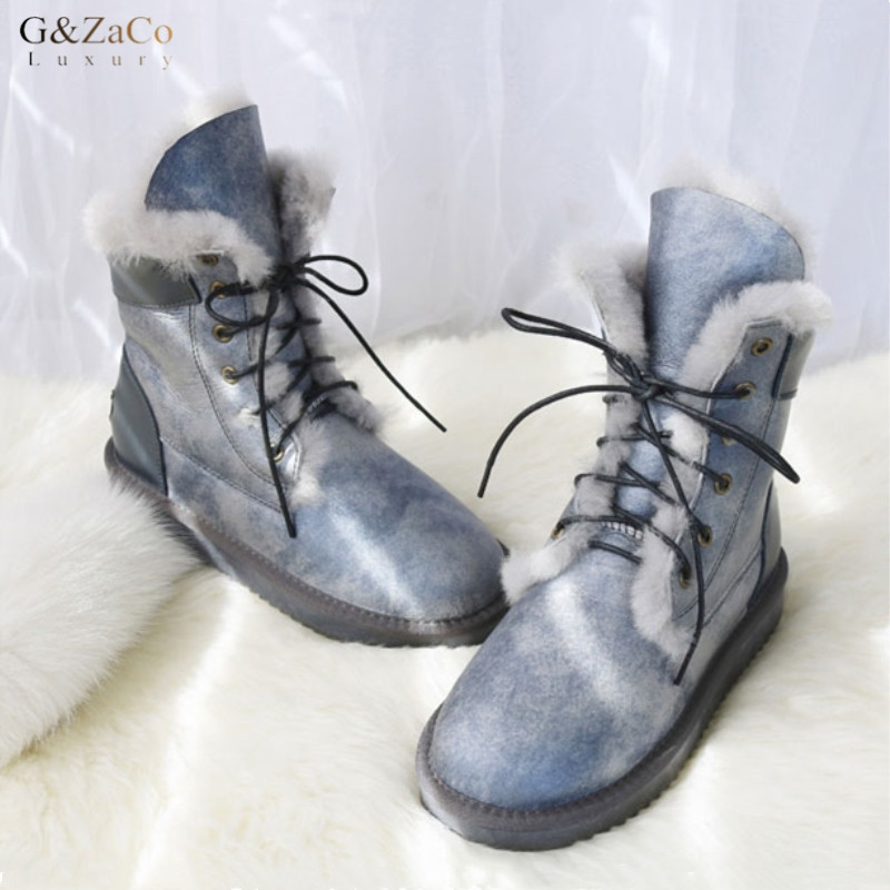 G&Zaco Sheepskin Snow Boots Fashion Natural Sheep Fur Mid Calf Boots Winter Female Flat Wool Genuine Leather Boots Waterproof fashion hot winter hand embroidery flowers women snow mid calf boots sheep wool high qualit flats street style beauty boots 26