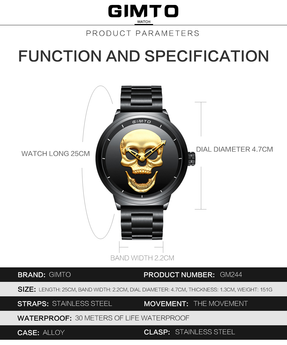 2018 Cool Punk 3D Skull Men Watch Brand GIMTO Luxury Steel Gold Black Vintage Quartz Male Watches sport clock Relogio Masculino 12