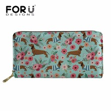 FORUDESIGNS Wallets&Purse Women Doxie Dog Dachshund Long Wallets for Feminine Cluth Phone Cash Holder Ladies Party Money Bag