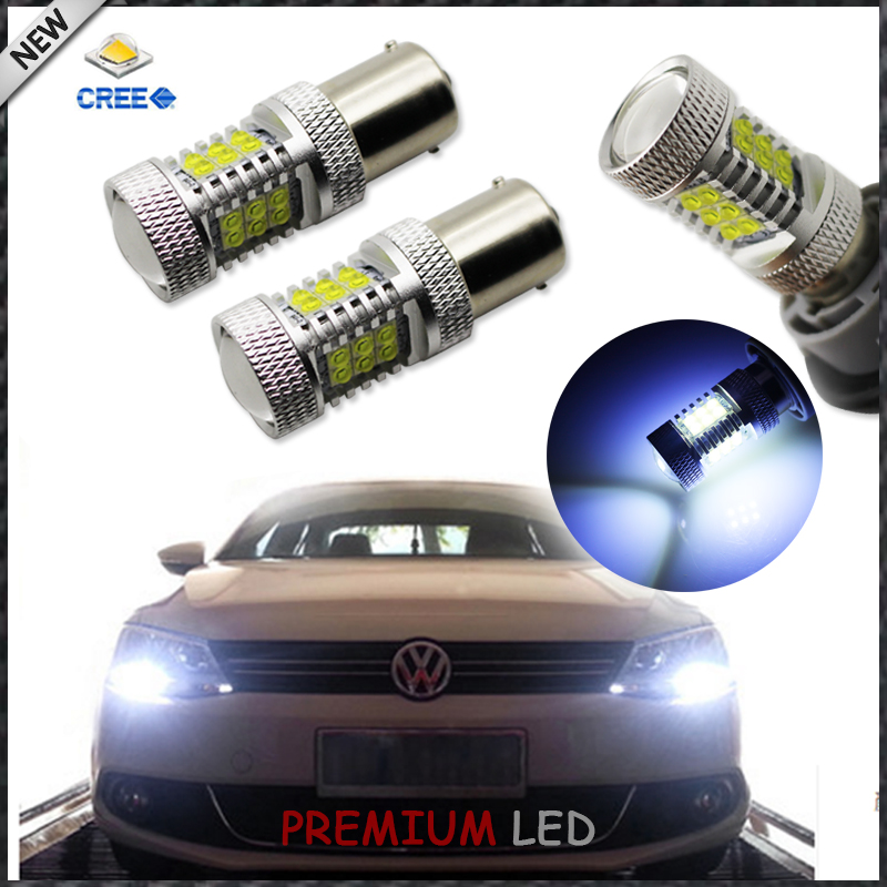 CANbus Error Free 8000K 1156 S25 21-SMD LED Replacement Bulbs For 2011-2015 Volkswagen MK6 Jetta For Daytime Running Lights 2pcs canbus error free 55 smd 3030 7440 w21w led backup reverse light bulbs for 2010 2014 volkswagen mk6 golf or gti 6000k whit