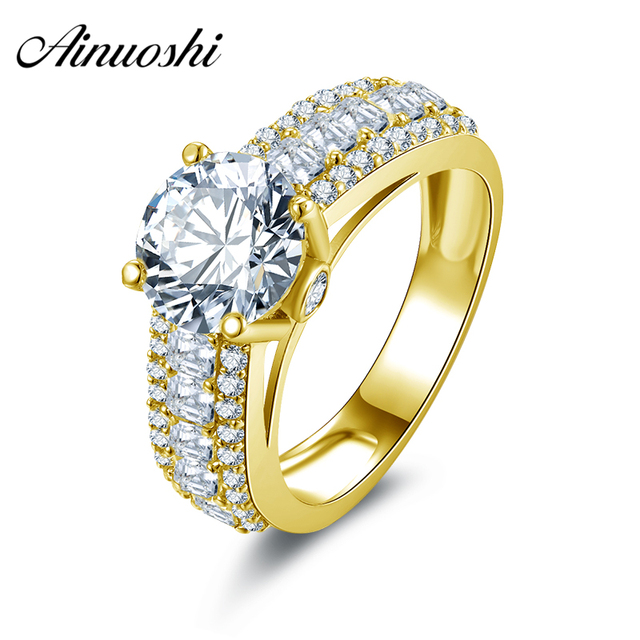 AINUOSHI 10k Solid Yellow Gold Lovers Promise Ring 2 Carat Round Cut 3 Rows Drill Simulated Diamond Bijoux Women Wedding Rings