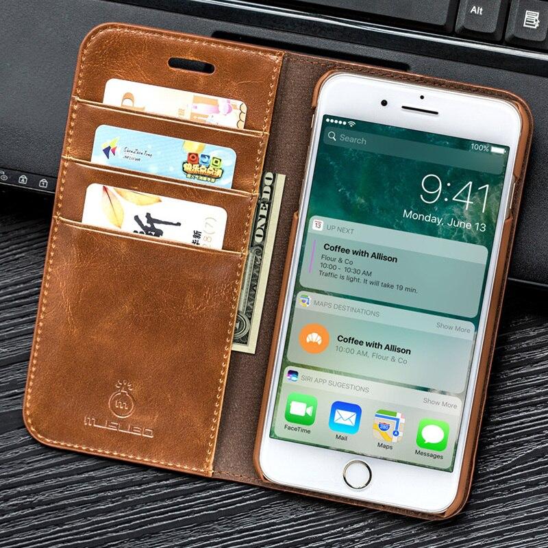 Musubo Véritable En Cuir Flip Cas Pour iPhone 8 Plus 7 Plus De Luxe Portefeuille Équipée Couverture Pour iPhone X 6 6 s 5 5S SE Cas Coque capa