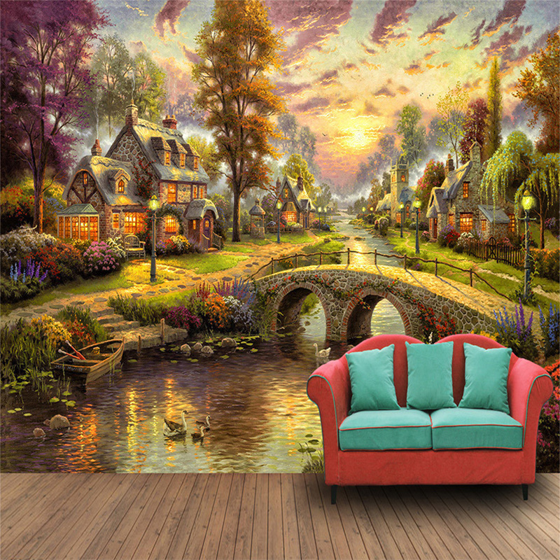 3d Wallpaper For Home Wall India European Style Village Forest House Night Scene Pil