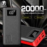 Power Bank 20000mAh QC Pantalla de carga rápida LED para iPhone Samsung Huawei tipo C Micro USB cargador de batería externo portátil|Cargador portátil|   -