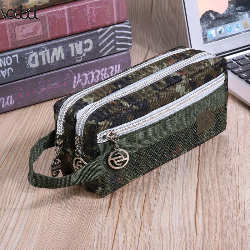 VODOOL Pencil Case Camouflage Canvas Cute Stationery Student Pen Bag for Office Supplies For Kids Student kawaii Pencil Bag Gift big capacity high quality canvas shark double layers pen pencil holder makeup case bag for school student with combination coded lock