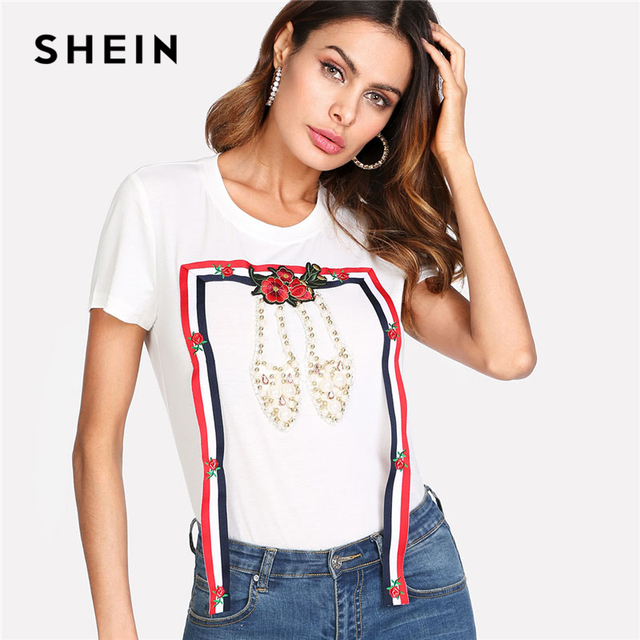 4129478f0a SHEIN Striped Tape And Pearl Beading T-shirt 2018 Summer Women White Round  Neck Short Sleeve Embroidery Rhinestone Casual Tee