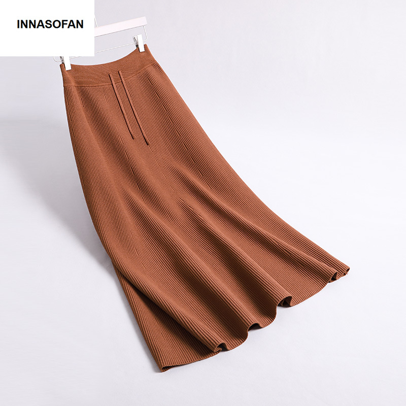 INNASOFAN Knitted Skirt For Women Spring-Summer Skirt High Waist Euro-American Fashionable Elegant Skirt Solid Color