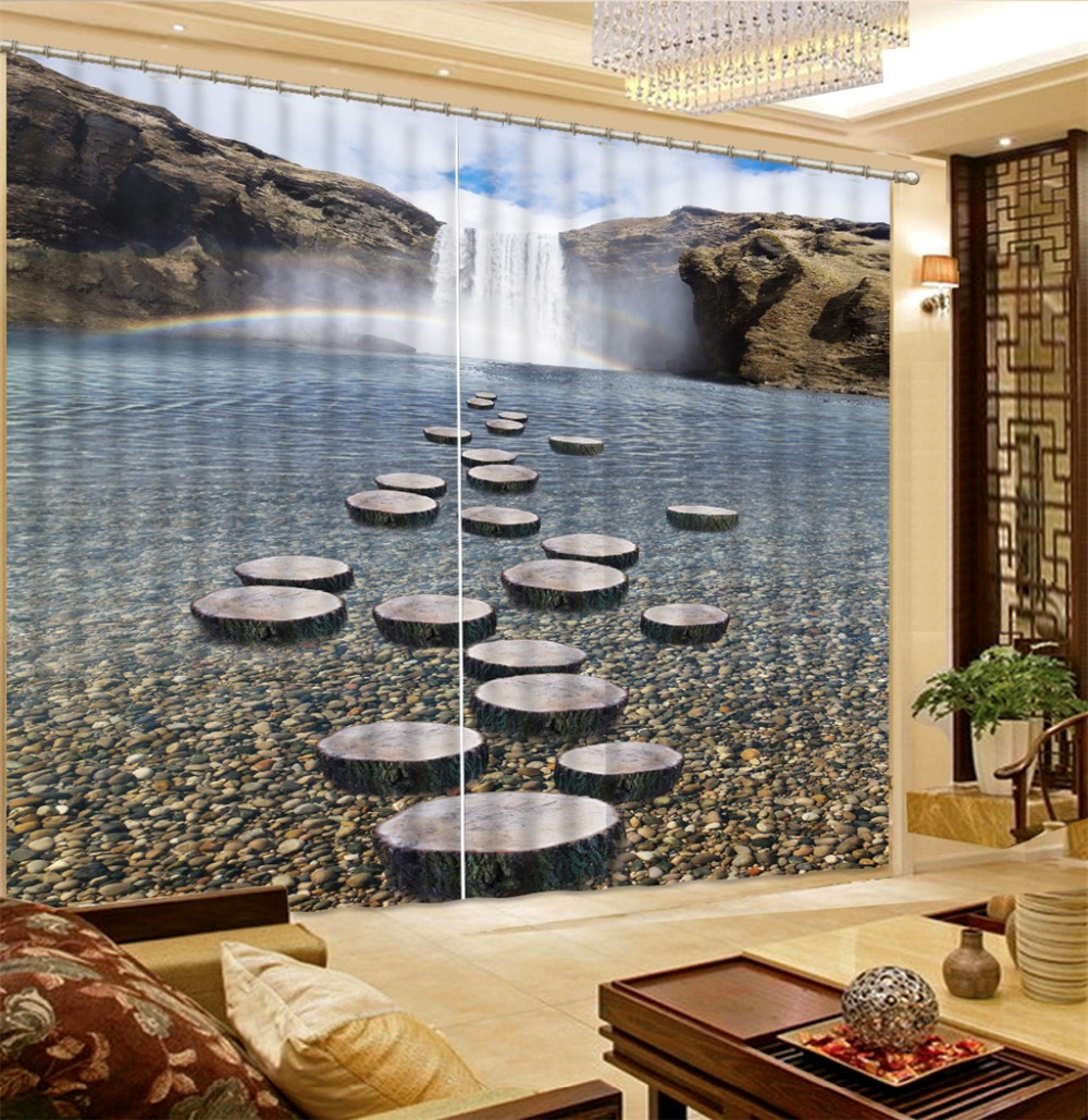 Waterfall Rainbow Cobblestone Forest Living Room Hotel Door Window Shading Curtain Finished Drapes Window Blackout CurtainsWaterfall Rainbow Cobblestone Forest Living Room Hotel Door Window Shading Curtain Finished Drapes Window Blackout Curtains