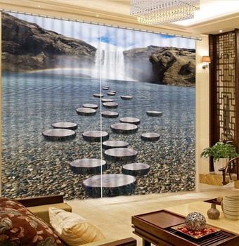 Waterfall Rainbow Cobblestone Forest Living Room Hotel Door Window Shading Curtain Finished Drapes Window Blackout Curtains