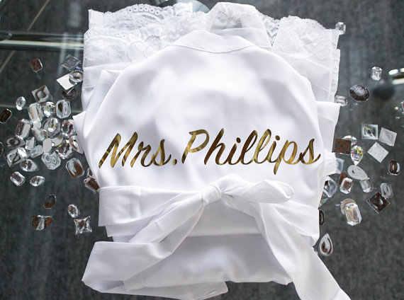 Personalisasi Renda Emas Pernikahan Bridesmaid Bride Lingerie Satin Sutra Piyama Lajang Jubah Kimono Gaun Hadiah Pesta