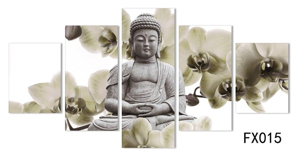 KEIN RAHMEN 5 Panel Große orchidee hintergrund Buddha Malerei - Wohnkultur - Foto 4
