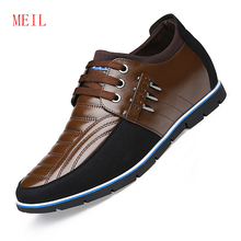 цены Genuine Leather Invisible Height Increasing Elevator Shoes  for Men British Style Lace Up Business Mens Casual Shoes Hot Sale