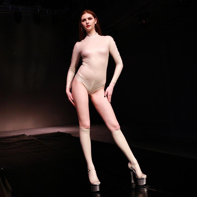 Sexy femme Faux cuir Catsuit PVC Latex body femmes fermeture éclair ouvert entrejambe Stretch Clubwear érotique pôle danse Lingerie