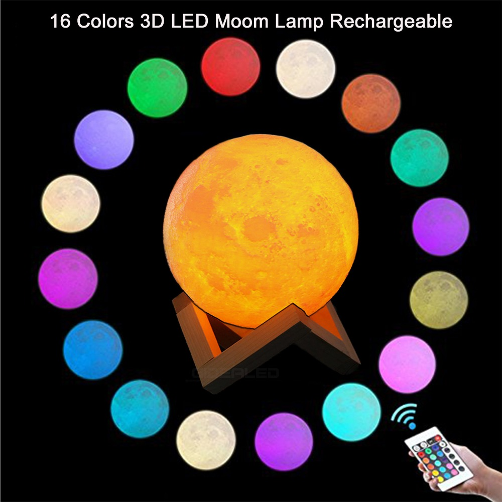 LED Nigh Light Rechargeable 3D Print Moon Lamp With Romote Control 16 Color touch control Bookcase Decor Gift Bedroom light ...