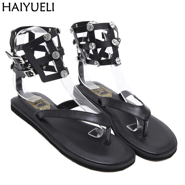 71252cdfeb4ea4 Women Sandals Rhinestones Flat Shoes Summer Women Shoes Thong Flip Flops  Fashion Flat Gladiator Sandals Casual Ankle Strap Flats