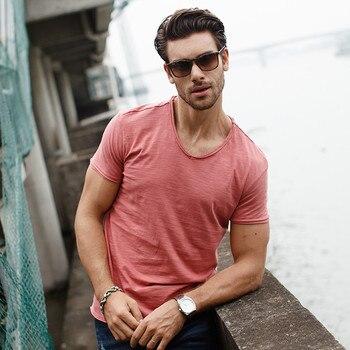 GustOmerD Brand T shirt Men's V-neck Slim Fit Pure Cotton T-shirt Fashion Short Sleeve T shirt Men's Tops Casual Tshirt M-XXL 2