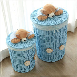 Woven Wicker Baskets Round Laundry Hamper Sorter Storage Basket with Bear Head Lid Small large laundry basket for clothes panier