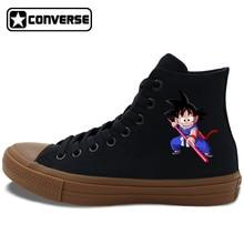 Men Women Converse Chuck Taylor II Anime All Star Skateboarding Shoes Dragon Ball Son Goku Black White Canvas Sneakers