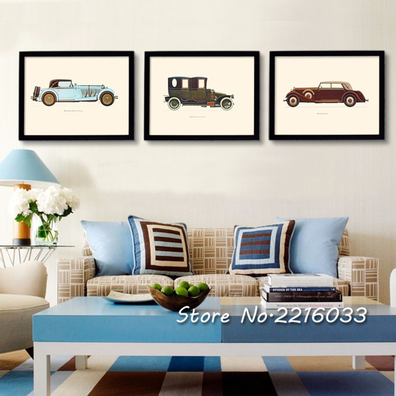 multi panel classic cars canvas wall art vintage decorative carts wall pictures painting living room office