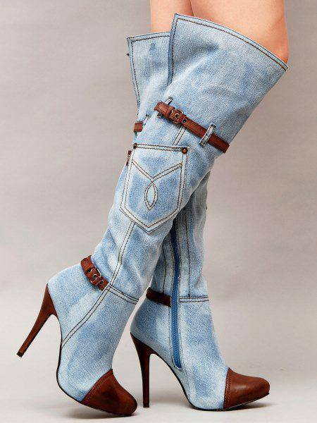 цены 2018 newest Cowboy boots blue denim leather pointed toe shoes women high heels over the knee boots embroidered shoe women winter