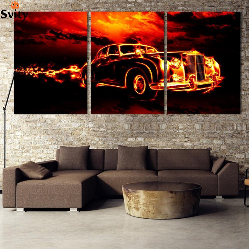 3 Pcs Sports Car Wall Art painting Home Decoration Living Room Canvas Print Painting on canvas Wall picture promotion