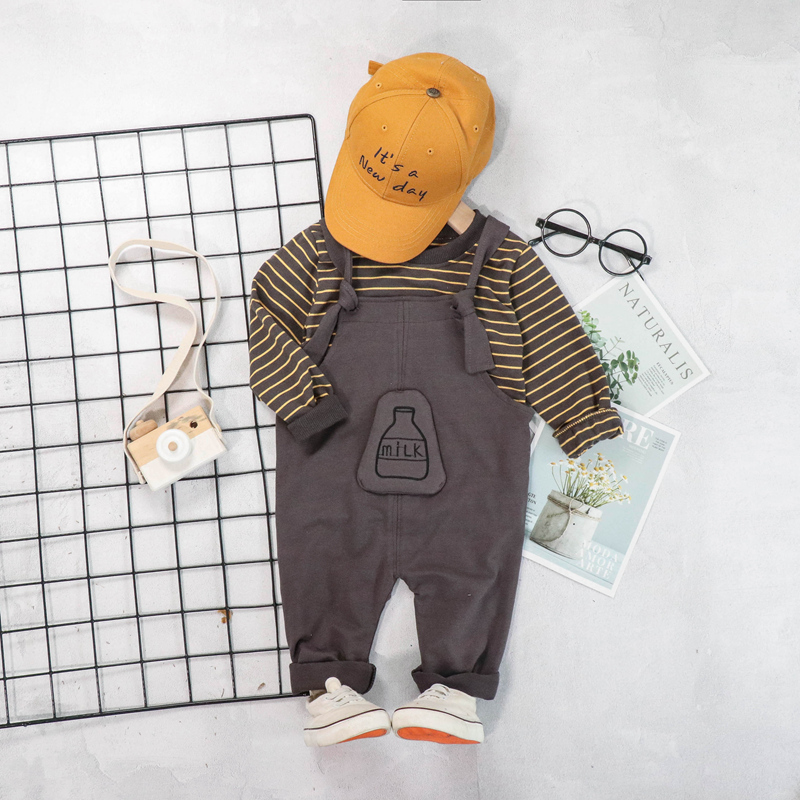 2019 Autumn Baby Boy Clothes Sets Infant Toddler Clothing Suits Striped T Shirt Bib Pants Kids Children Costume Suits in Clothing Sets from Mother Kids
