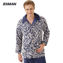 Bxman бренд мужской высокое качество Pijamas хомбре современный пижамы полиэстер геометрический отложной воротник полный рукава пижамы комплект 39