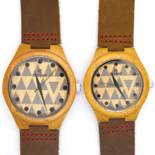 Handmade pair men and women lovers watch wooden bamboo clock miyota 2035 movement wristwatches genuine leather wood watches