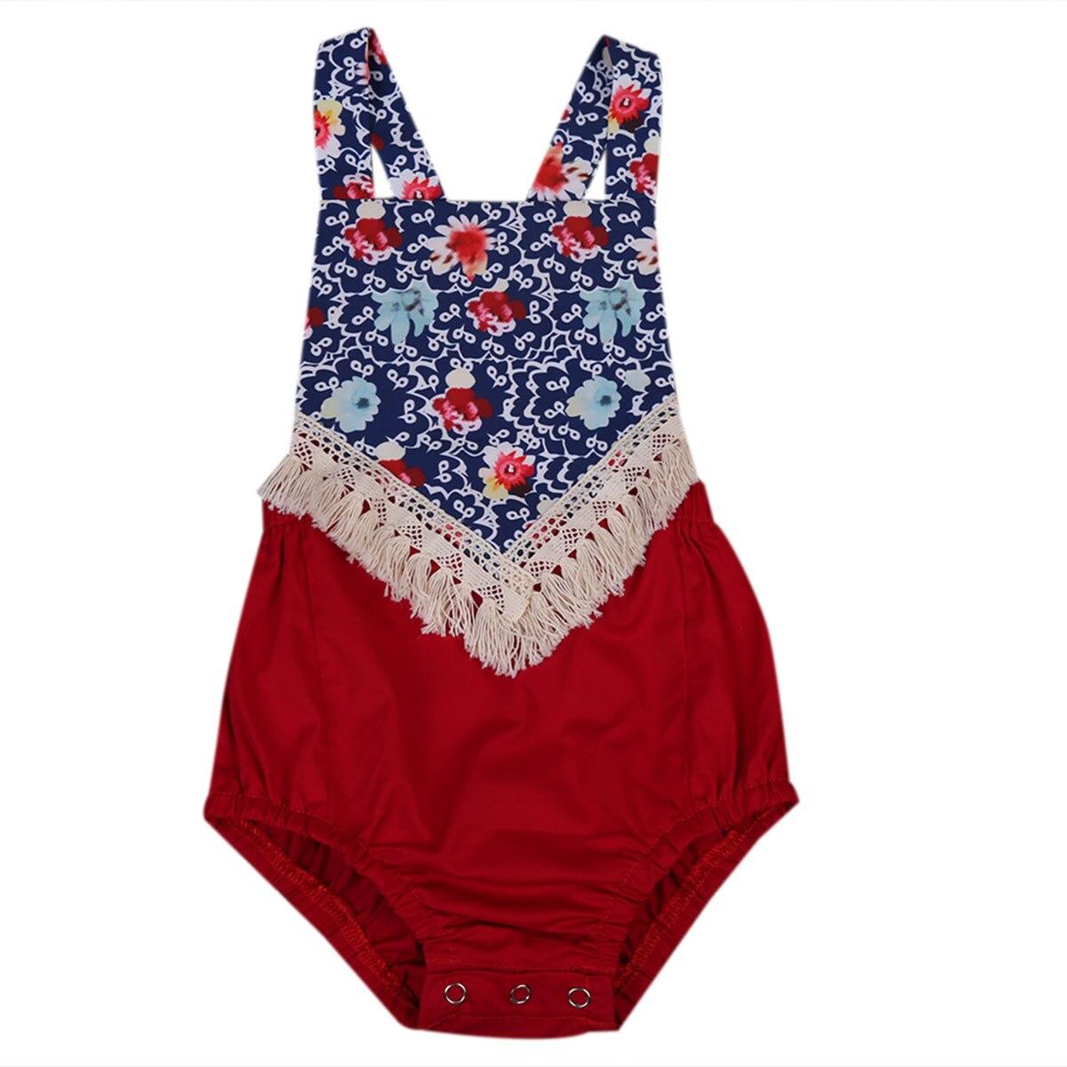 Mother & Kids 2017 Blue Fancy Newborn Infant Baby Girl Floral Romper Jumpsuit Outfits Sunsuit Clothes